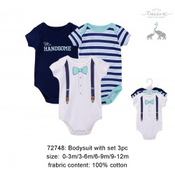 Little Treasure Hangging Short Sleeve Baby Suits Interlock - Mr Handsome (3pcs)