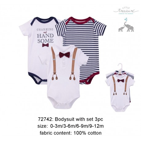 Little Treasure Hangging Short Sleeve Baby Suits Interlock - Charming and Handsome (3pcs)