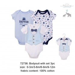 Little Treasure Hangging Short Sleeve Baby Suits Interlock - LT Blue Vest (3pcs)