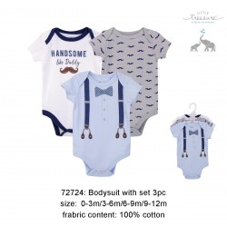 Little Treasure Hangging Short Sleeve Baby Suits Interlock - Handsome Like Daddy (3pcs)