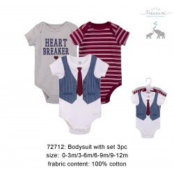 Little Treasure Hangging Short Sleeve Baby Suits Interlock - Heart Breaker/Navy (3pcs)