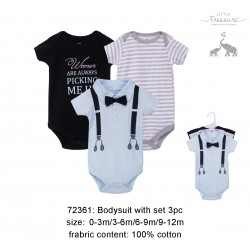 Little Treasure Hangging Short Sleeve Baby Suits Interlock - Ladies Man (3pcs)