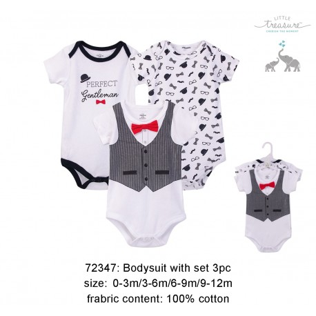 Little Treasure Hangging Short Sleeve Baby Suits Interlock - Gentlemen (3pcs)