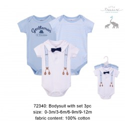 Little Treasure Hangging Short Sleeve Baby Suits Interlock - Blue Suspenders (3pcs)