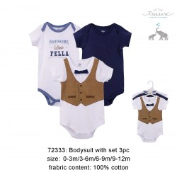 Little Treasure Hangging Short Sleeve Baby Suits Interlock - Handsome Fella (3pcs)