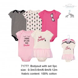 Little Treasure Hangging Short Sleeve Baby Suits Interlock - Lipstick (5pcs)