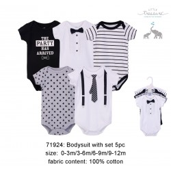Little Treasure Hangging Short Sleeve Baby Suits Interlock - Tux and Tie (5pcs)