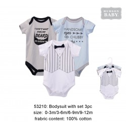 Hudson Baby Hangging Short Sleeve Baby Suits Interlock - Little Men (3pcs)
