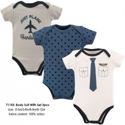 Little Treasure Hangging Short Sleeve Baby Suits Interlock - Pilot (3pcs)