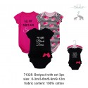 Little Treasure Hangging Short Sleeve Baby Suits Interlock - Black Dress (3pcs)
