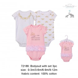 Little Treasure Hangging Short Sleeve Baby Suits Interlock - Princess (3pcs)