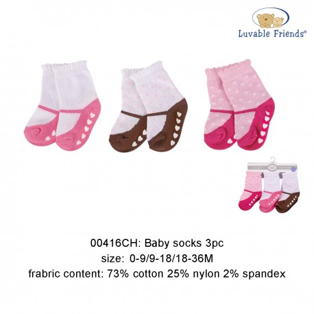 Luvable Friends Baby Socks with Non Skid - Pink Hearts (3pairs)