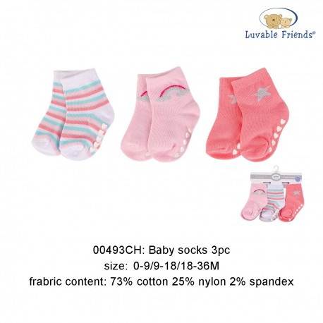 Luvable Friends Baby Socks with Non Skid - Rainbow (3pairs)