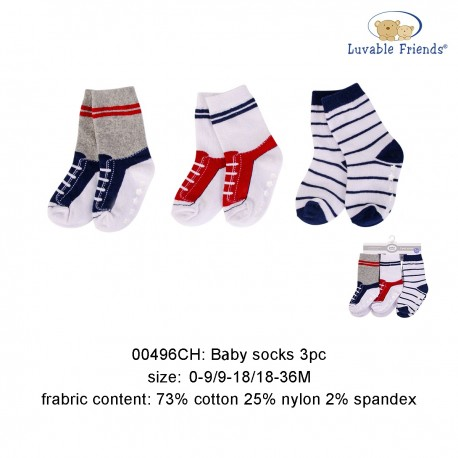 Luvable Friends Baby Socks with Non Skid - Black Stripe (3pairs)