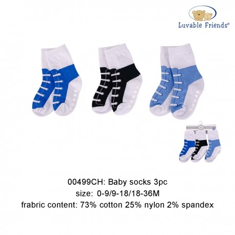 Luvable Friends Baby Socks with Non Skid - Blue Shoe (3pairs)