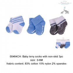 Little Treasure Newborn Terry Socks - Sapphire Nautical 0-6M (3pairs)
