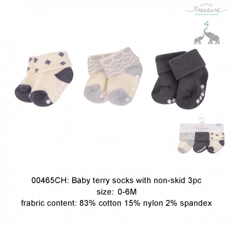 Little Treasure Newborn Terry Socks - Sapphire Aztec 0-6M (3pairs)