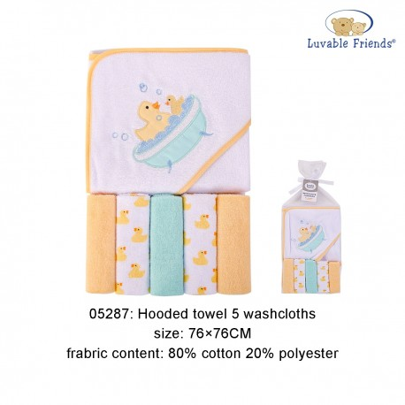 Luvable Friends Hooded Towel and 5pcs Washcloths - Duck