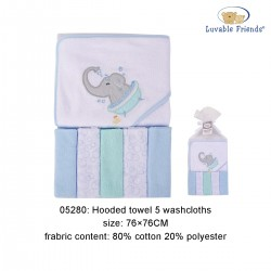Luvable Friends Hooded Towel and  5pcs Washcloths - Elephant Bath