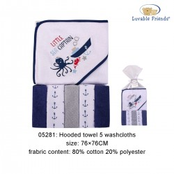 Luvable Friends Hooded Towel and 5pcs Washcloths - Sea Captain