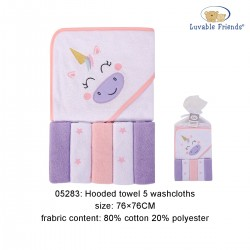 Luvable Friends Hooded Towel and 5pcs Washcloths - Unicorn