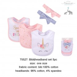 Little Treasure Droller Bib and Headband Set - Unicorn (5pcs)