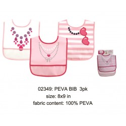 Luvable Friends PEVA Bib - Girl (3pcs)