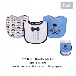 Hudson Baby Interlock Droller Baby Bibs - Perfect Gentlemen (3pcs)