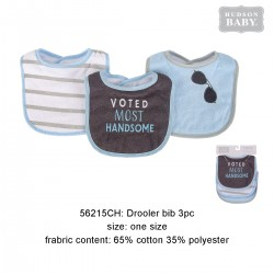 Hudson Baby Interlock Droller Baby Bibs - Voted Most Handsome (3pcs)