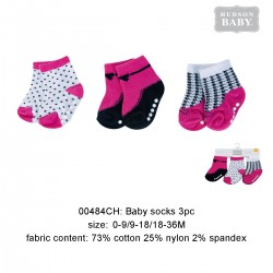Hudson Baby Baby Socks with Non Skid - Black Dots (3pairs)