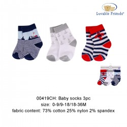 Luvable Friends Baby Socks with Non Skid - Crab (3pairs)