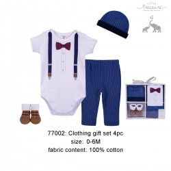 Little Treasure Clothing Gift Set - Navy Suspenders (4pcs)