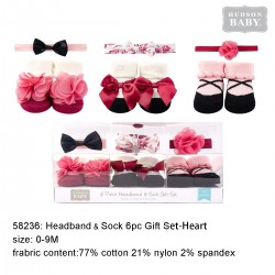 Hudson Baby Headband and Socks Gift Set - Burgundy Floral (6pcs)