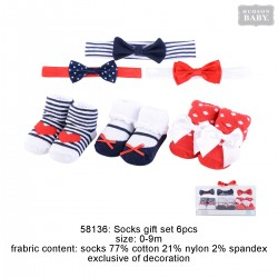 Hudson Baby Headband and Socks Gift Set - Red White Blue (6pcs)