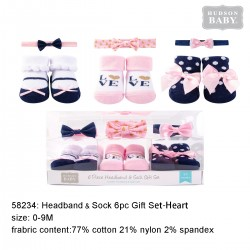 Hudson Baby Headband an  Socks Gift Set - Navy Love (6pcs)