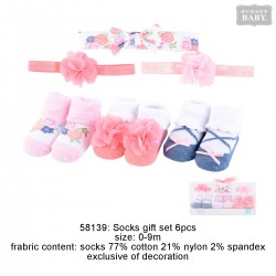 Hudson Baby Headband and Socks Gift Set - Flower (6pcs)