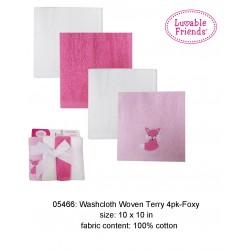 Luvable Friends Super Soft Washcloths - Pink Foxy (4pcs)