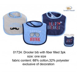 Luvable Friends Interlock Droller Baby Bibs - Heart Breaker (3pcs)