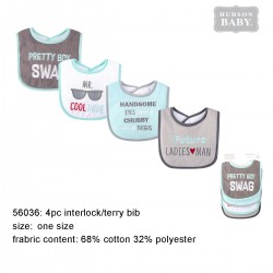 Hudson Baby Interlock Droller Baby Bibs - Pretty Boy Swag (4pcs)