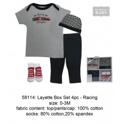 Hudson Baby Clothing Gift Set - Racing (4pcs)