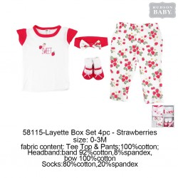 Hudson Baby Clothing Gift Set - Strawberries (4pcs)