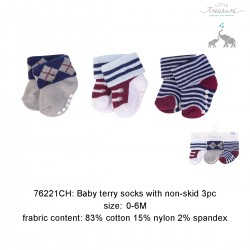 Little Treasure Newborn Terry Socks Sapphire Genius 0-6M (3pairs)