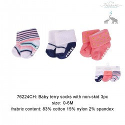 Little Treasure Newborn Terry Socks Sapphire Golddot 0-6M (3pairs)