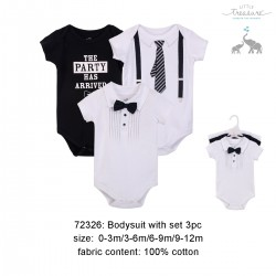 Little Treasure Hanging Short Sleeve Interlock Baby Suits (3pcs) - 72326