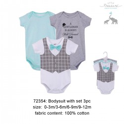 Little Treasure Hanging Short Sleeve Interlock Baby Suits (3pcs) - 72354