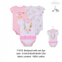 Little Treasure Hanging Short Sleeve Interlock Baby Suits (3pcs) - 71570