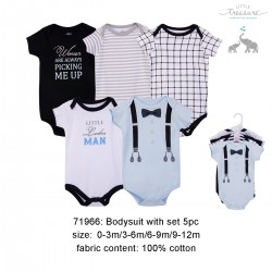 Little Treasure Hanging Short Sleeve Interlock Baby Suits (5pcs) - 71966