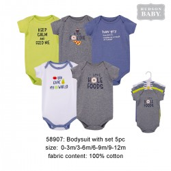 Hudson Baby Hanging Short Sleeve Interlock Baby Suits (5pcs) - 58907