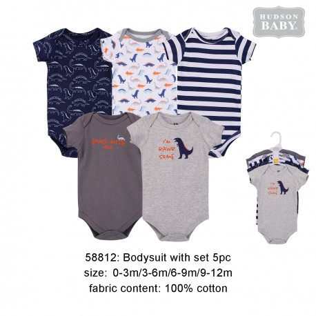 Hudson Baby Hanging Short Sleeve Interlock Baby Suits (5pcs) - 58812