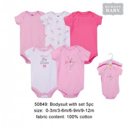 Hudson Baby Hanging Short Sleeve Interlock Baby Suits (5pcs) - 50849